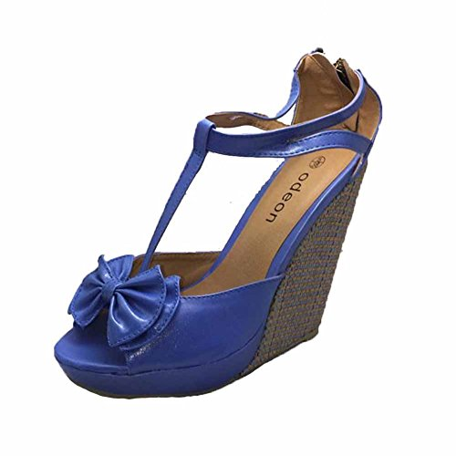Blue T-bar high heel wedge sandals / shoes with peep toe and bow