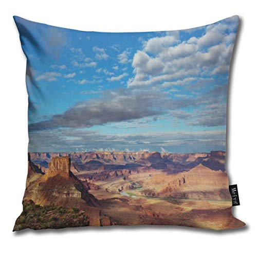 Canyonland National Parks Utah Valley Cloudy Blue Sky Redrock Butes Photo Scenery Sofa Car Decorative Cotton Blend Throw Pillow Case Cushion Cover Square 16 X 16 Inches