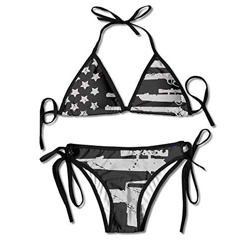 Gun American Flag Tie Back Bikini Swimsuit Push Up Two Pieces Bathing Sets for Women