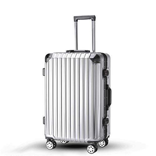 HUANGA HUANGDA Suitcase Female Ins Student Valigia Password Box maschio Versione coreana della piccola ruota universale 24 trolley (Color : Silver, Dimensione : 20 inches)