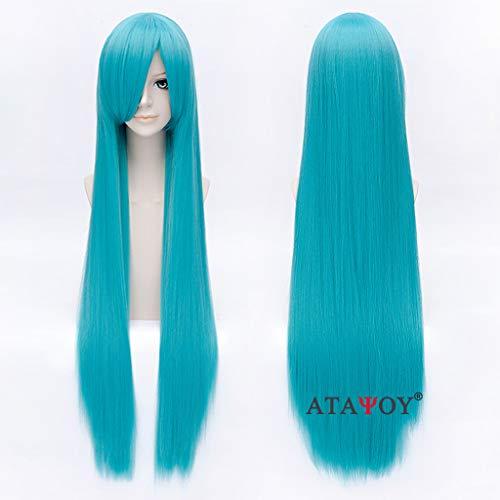 ATAYOU® 100 cm/40 '' Langes gerades Haar Blau Grün Gerade Cosplay Perücken Extra Lange Perücken + Perücke Cap (Grünen Perücke Die Blauen Und)