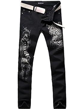 jeansian Moda Pantaloni Casual Uomo Stampato la Ghepardo Jeans Cool Denim Pants MJB112