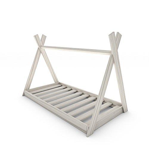 MSS Tipi Kinder-Bett 200 x 90 cm Weiß Kinderhaus Holz Haus Spiel Zelt inkl. Lattenrost
