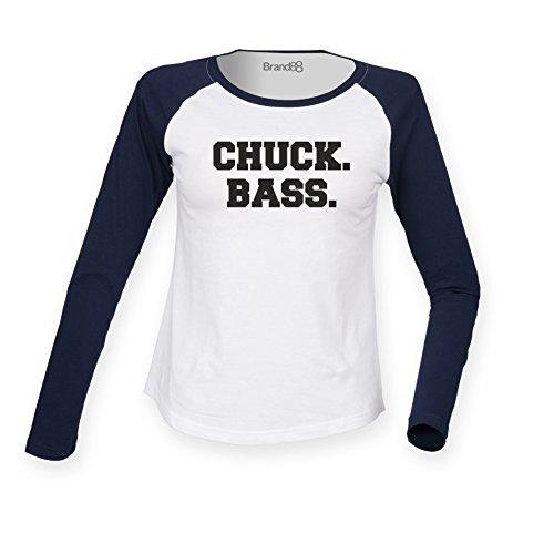 Preisvergleich Produktbild Chuck Bass, Damen Langarm Baseball T-Shirt - Weiss & Blau XL ( UK Größe 16 )