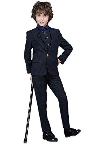 Icegrey Festlicher Jungen Anzug Smoking Pinstripe Muster mit Zwei Knöpfen Formales Kleid Anzug Set Schwarz 3-4 Jahre 110CM (Schwarzes 4-knopf-anzug Kleid)