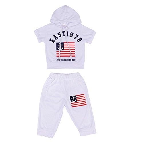 Sommer Babykleidung Kinder Baby jungen Kapuzen T-shirt und Hosen Outfits Sommer Anzug Kinder T-shirt und Hose Bekleidungssets Kleidung Set (2-7Jahre) LMMVP (Weiß, 120 (5-6Jahre)) - Junge 5 Kleid Anzug