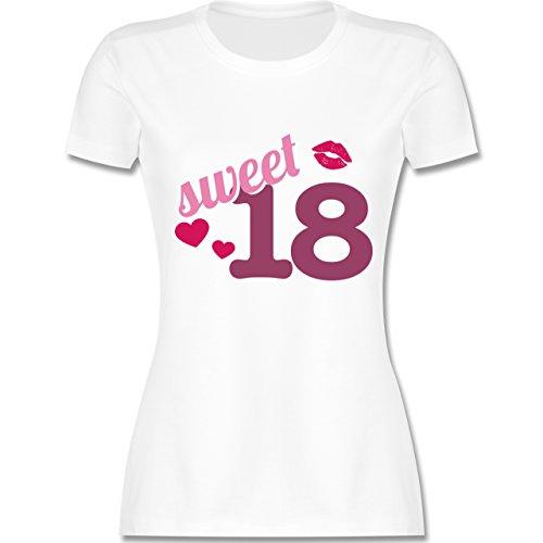 Geburtstag - Sweet 18 - S - Weiß - L191 - Damen T-Shirt Rundhals