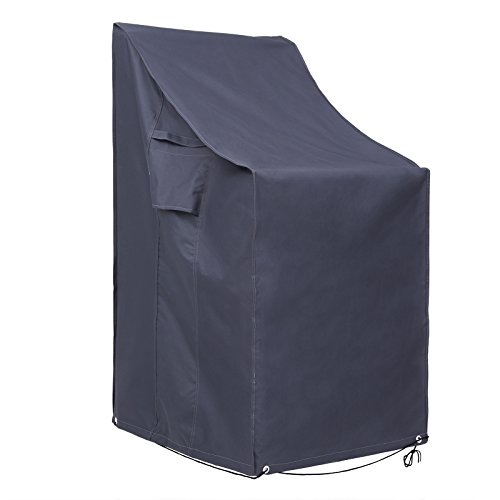 SONGMICS Stacking Garden Chairs Cover, Protection for Patio Chairs Waterproof Windproof Anti-UV Outdoor Cover, GFC95G