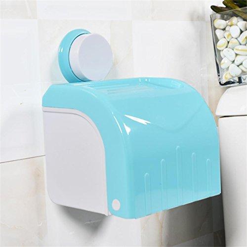 wasserdicht Saugnapf Handtuchhalter Badezimmer Tissue Box Toilette Rollenhalter Handschale Toilettenpapierhalter Punch Saugnapf Top Aufbewahrungsbox ( farbe : Blau )