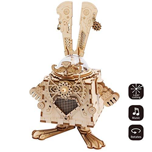 HWQ Kaninchen DIY Steampunk Music Box-3d Wooden Puzzle Laser Cutting, Sport-Versammlung, Kinder und Jugendliche, Bildspielzeug, Handwerk, Kreative Geschenke Geschenke
