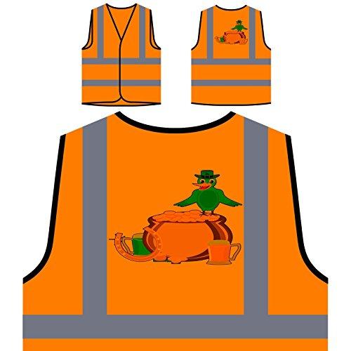 St-Patricks-Tag-Vogel Art Personalisierte High Visibility Orange Sicherheitsjacke Weste (Weste St Tag Patricks)