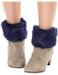 Winter Faux Fur Knitted Soft Leg Warmers Short Boot Cuff Cover