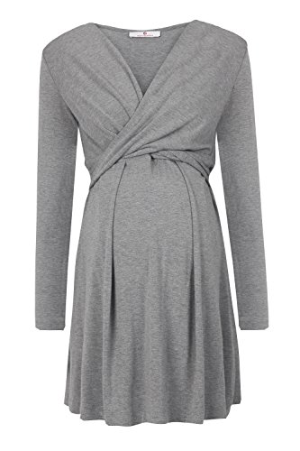 bellybutton Maternity Damen Umstandskleid Alina-Stillkleid 1/1 Arm, Grau (Middle 8500)