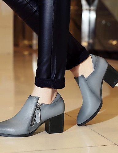 WSS 2016 Chaussures Femme-Extérieure / Bureau & Travail / Habillé / Décontracté / Soirée & Evénement-Noir / Gris-Gros Talon-Talons / Confort / gray-us6.5-7 / eu37 / uk4.5-5 / cn37