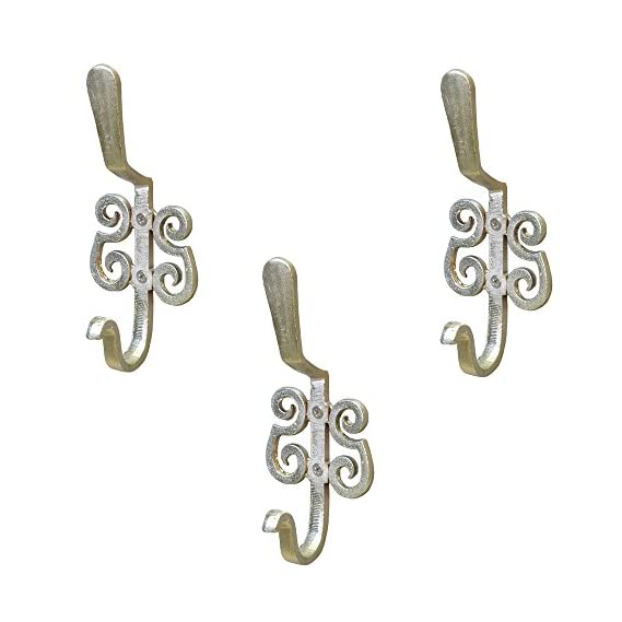 Casa Decor Set of 3 French Arcade Wall Hooks Hanging Clothes Hat Coat Robe Hangers Metal Single Hook Door Hook Wall Mounted Single Hook Hanger Silver Nickel Finish