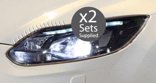 Einzigartige Styling Auto-Scheinwerfer Wimpern Aufkleber Kit, weiß (Weißes Auto Wimpern)