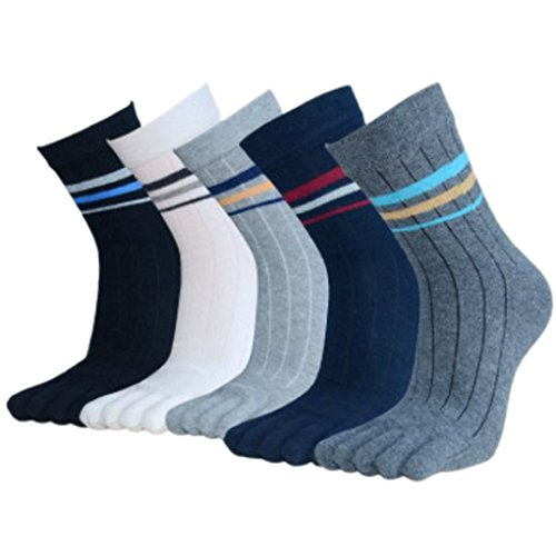 Panegy - Lot de 5 paires de Chaussettes fantaisie Pour Homme - Doigts de Pied Séparés - Chaussettes avec Orteils - Coton - Mixte 01