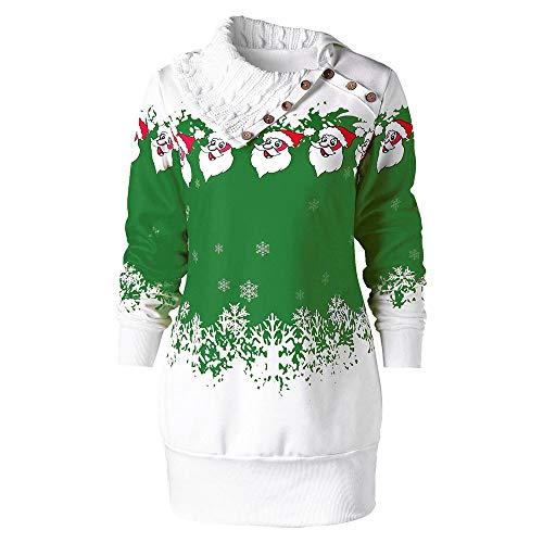 SEWORLD Weihnachten Damen Retro Christmas Weihnachtsmann Schneeflocke Drucken Große Größe Tunika Sweatshirt Kleid(X2-grün,EU-40/CN-XL)