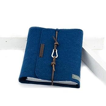 Ringbuch blau Notizbuch Ringordner PERSONALISIERT A5 Filz Name Kalenderhülle Leder Geschenk Schule Abitur Ausbildung Studium Karabiner lässig 2,2cm, 2 Ringe
