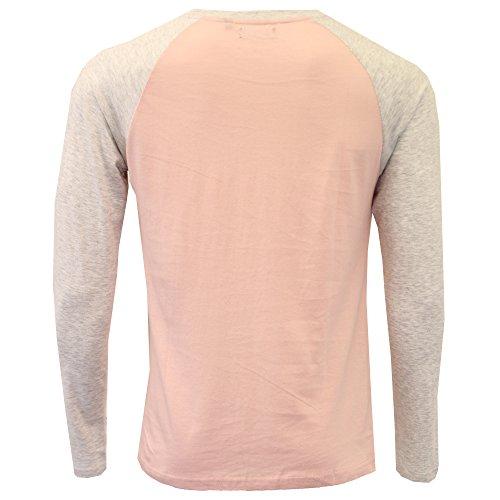 Herren langärmlig Jersey Oberteil Brave Soul Henley Rundhals Baumwolle T-Shirt Freizeit pink - 149rasmusb
