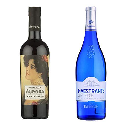 Manzanilla Aurora Y Vino Semidulce Maestrante - D. O. Manzanilla De Sanlúcar De Barrameda Y Vinos De La Tierra De Cádiz - 2 Botellas De 750 Ml