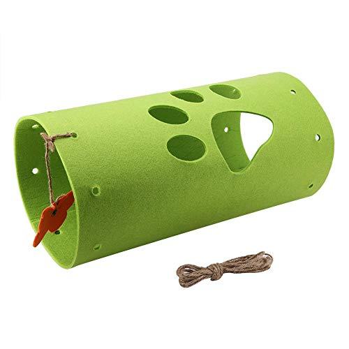 Sheens Collapsible Cat Tunnel, Pet Activity Play Tube mit Schmetterlingsform Teaser Atmungsaktiver Filz Kitten Puppy Hideaway-Übungsunterhaltung(Grün) -
