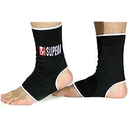 Supera Fußbandage für mehr Schutz beim Sport. Elastisch Bandage stütz das Fußgelenk. Die Sprunggelenk Bandage für Kickboxen, Muay Thai oder Laufen. 1 Paar - Zwei Fußgelenkbandagen