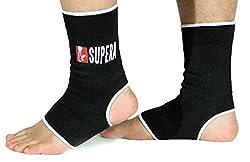 SUPERA Fußbandage - elastisch Fußgelenkbandage für MMA, Martial Arts, Muay thai Kickboxen 1 Paar – auch für andere Sportarten wie Handball Fußball Laufen - Stützbandage Knöchelbandage Sprunggelenkbandage - (Größe M schwarz)