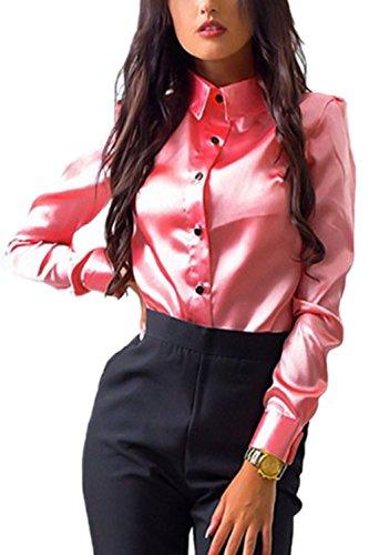 Lettre damour les Femmes avec UNE Coupe Lady Chemise Chemisier Revers au Bureau pink