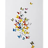 DecoBay 6 Colors 3D Butterfly Removable Mural Stickers Wall Stickers Decal for Home and Room Decoration, 72 Pieces Refrigerator Magnet, Card Making Stickers