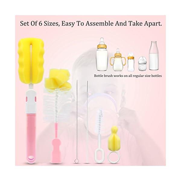 Uzinb 6 en 1 Kit de Limpieza de la Botella Cepillo de Limpieza de Cepillo de Esponja Tazas Deportes del Biberón Bebé… 4