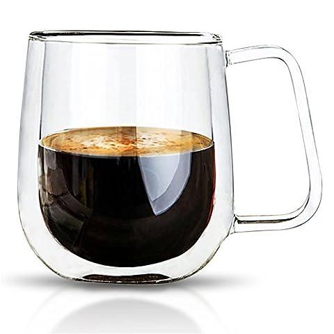 Varano double paroi isolée Espresso Mug avec Handle-crystal clair Tasse pour thé, café, lait ou froid Drinks- résistant à la chaleur dégradé de qualité supérieure sans plomb Verre Borosilicate–Le cadeau idéal thermique