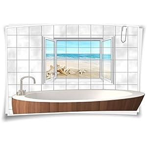 Fliesenaufkleber Fliesenbild Fliesen Meer Strand Muscheln Deko Aufkleber Bad WC, 75x50cm, 20x25cm (BxH)