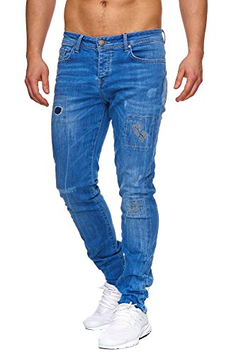 TAZZIO Slim Fit Herren Destroyed Look Stretch Jeans Hose Denim J-1008 Blau 32/32