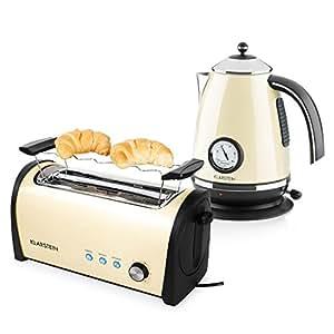 Klarstein set petit d jeuner bouilloire 2200 w de grille pain 4 tranches de 1400 w - Ensemble grille pain bouilloire ...