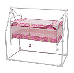 Baby Ultra Cradle Cot with Wheels Color Pink : Oximus
