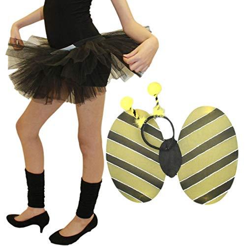 Islander Fashions Girls 3-Schicht Tutu Rock und Bumble Bee Wings Fancy Dress Partyzubeh�r (3 Lagen Black Tutu Rock und Bumble Bee Wings Set) One Size