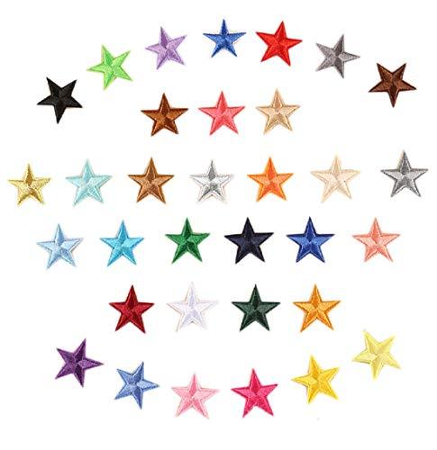 näher Bügelbild Aufbügeln ügler Bügeleisen auf Patches Sticker Applikation DIY fünfzackiger Stern Muster für T-Shirt Jeans Kleidung Taschen ()