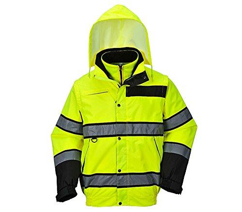 4 in 1 Hochsichtbare Sicherheitsjacke mit Kaputze, EPI Jacke (individuelle Sicherheitsausrüstung) - für Mann und Frau - gelb - L