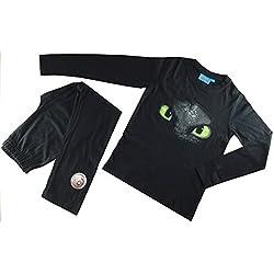 Dragons - Pijama Dos Piezas - Cuello Redondo - para niño Negro Negro