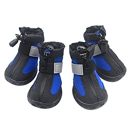 PetPi 4pcs x Paw Protector Blue Dog Shoes Waterproof + Anti-slip Rubber Sole with Reflective Velcro for Yorkshire… 1