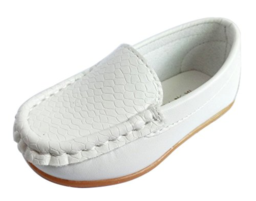 Femizee Kid Boys Girls Casual Dress Slip On Moccasin PU Leather Loafer Shoes,White,5.5 UK Child