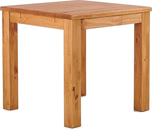 Brasilmöbel Esstisch Rio Classico 80x80 cm Honig Massivholz Pinie Holz Esszimmertisch Echtholz Größe und Farbe wählbar ausziehbar vorgerichtet für Ansteckplatten