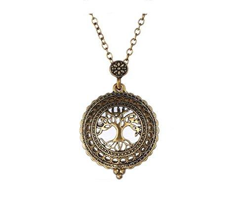Bellamira Albero della vita Vintage Oro medaglione ciondolo (43mm) con lunga catena in oro 25cm/63cm Iconic esotico Maglione Collana Gioielli Per Donne Ragazze, in confezione regalo