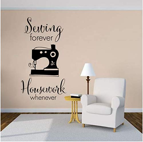 Newberli Nähen Quilten Wandaufkleber Nähen Für Immer Zitat Vinyl Wandtattoo Tuch Shop Decor Sewing Studio Wandkunst Wandbild 31X57 Cm