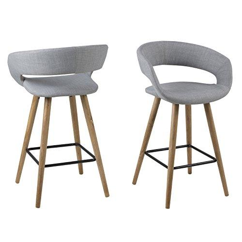 Lounge Zone 2er Set Barhocker Barstuhl Design Hocker Counterstuhl MONTREUX  Fußbank Massivholz Eiche ölbehandelt Stoffbezug