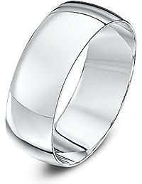 Theia Unisex 18ct oro blanco pesado de forma D pulido 7 mm anillo de boda