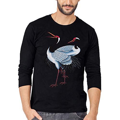 DAY.LIN T-Shirts À Manches Longues Homme Clearance Sweat-Shirt Épissage Sweater Robuste et Musclée de Base Grande Taille Blouse Tops (Medium,Noir)