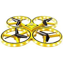 HKFV- Mini Drone pour Enfant et Bébé Induction Infrarouge avec LED Hélicoptère Télécommandé Quadcopter Avion Mini avec Télécommande Jouet Cadeau pour Enfant et Débutant - Jaune(2 Batteries