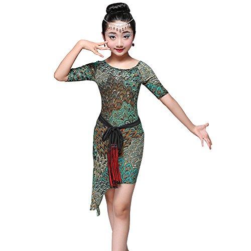 XFentech Kinder Mädchen Tanz Kleidung Exquisite Latein Tanzkleid Ausübung Wettbewerb Performances Kostüm, Stil-1/150 (Top 25 Halloween-kostüm-ideen)
